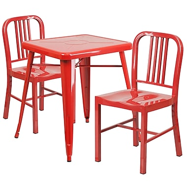 Flash Furniture Metal Indoor/Outdoor Table Set with 2 Vertical-Slat-Back Chairs, Red (CH31330218RED)
