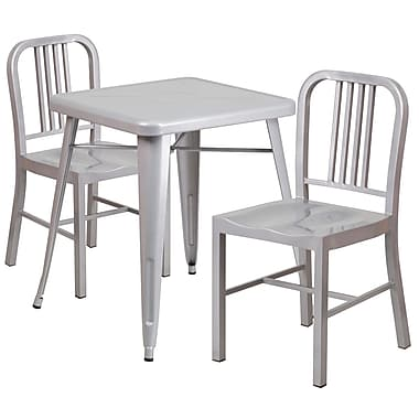 Flash Furniture Metal Indoor/Outdoor Table Set with 2 Vertical-Slat-Back Chairs, Silver (CH31330218SIL)