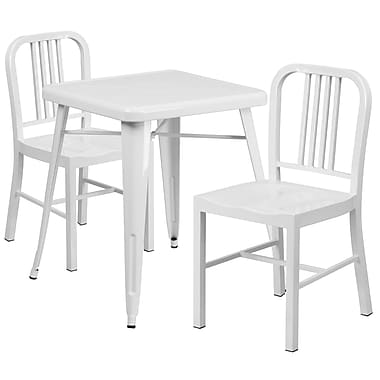Flash Furniture Metal Indoor/Outdoor Table Set with 2 Vertical-Slat-Back Chairs, White (CH31330218WH)