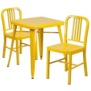 Flash Furniture – Ensemble table et 2 tabourets à dossier, intérieur/extérieur, métal, jaune (CH31330218YL)