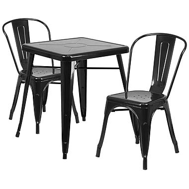 Flash Furniture Black Metal Indoor-Outdoor Table Set with 2 Stack Chairs (CH31330230BK)