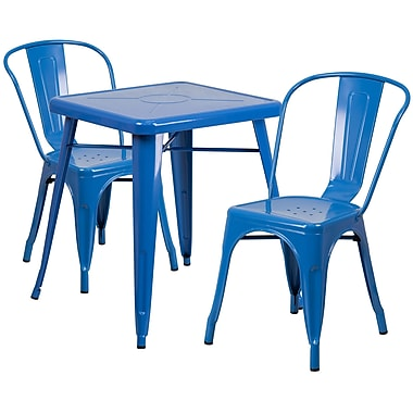 Flash Furniture – Ensemble avec table et 2 chaises empilables, intérieur/extérieur, métal, bleu (CH31330230BL)