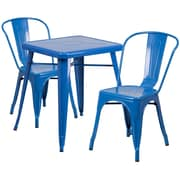 Flash Furniture Metal Indoor-Outdoor Table Set with 2 Stack Chairs, Blue()