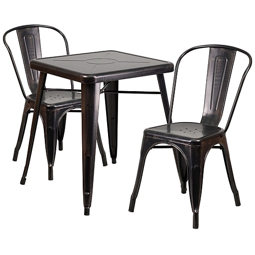 "Flash Furniture Metal Indoor/Outdoor Table Set w/2 Stack Chairs, 27.75"" x 27.75"", Black/Antique Gold (CH31330230BQ)"