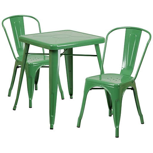 Flash Furniture Metal Indoor/Outdoor Table Set with 2 Stack Chairs, Green (CH31330230GN)