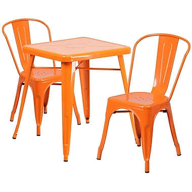 Flash Furniture Metal Indoor/Outdoor Table Set with 2 Stack Chairs, Orange (CH31330230OR)