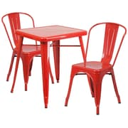 Flash Furniture Metal Indoor/Outdoor Table and 2 Stack Chairs, Red (CH31330230RED)