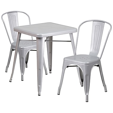 Flash Furniture Metal Indoor/Outdoor Table Set with 2 Stack Chairs, Silver (CH31330230SIL)