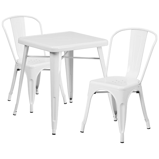 Flash Furniture Metal Indoor/Outdoor Table Set with 2 Stack Chairs, White (CH31330230WH)