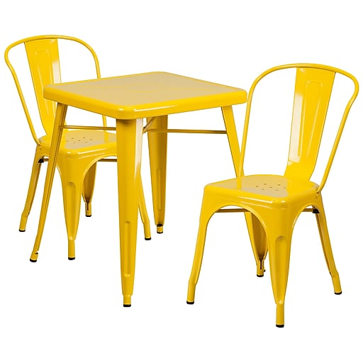 Flash Furniture Metal Indoor Outdoor Table Set With 2 Stack Chairs Yellow Ch31330230yl Staples