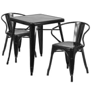 Flash Furniture Metal Indoor/Outdoor Table Set with 2 Arm Chairs, Black (CH31330270BK)