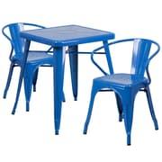 Flash Furniture – Ensemble avec table et 2 sièges à bras ajourés, intérieur/extérieur, métal, bleu (CH31330270BL)