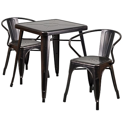 Flash Furniture Metal Indoor/Outdoor Table Set with 2 Arm Chairs, Black/Antique Gold (CH31330270BQ)