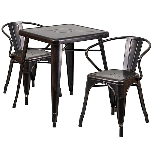 """Flash Furniture Metal Indoor/Outdoor Table Set with 2 Arm Chairs, 27.75"""" x 27.75"""", Black/Antique Gold (CH31330270BQ)"""