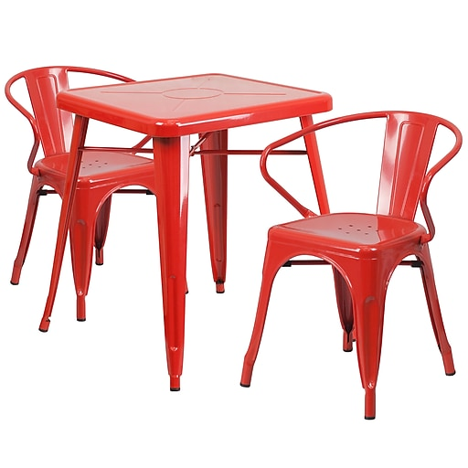 Flash Furniture Metal Indoor/Outdoor Table Set with 2 Arm Chairs, Red (CH31330270RED)