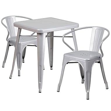 Flash Furniture – Ensemble avec table et 2 sièges à bras ajourés, intérieur/extérieur, métal, argenté (CH31330270SIL)