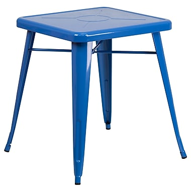 Flash Furniture 24'' Square Metal Indoor/Outdoor Table, Blue (CH3133029BL)