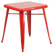 Flash Furniture 24'' Square Metal Indoor/Outdoor Table, Red (CH3133029RED)