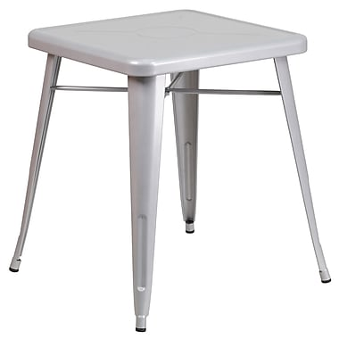 Flash Furniture 24'' Square Metal Indoor/Outdoor Table, Silver (CH3133029SIL)