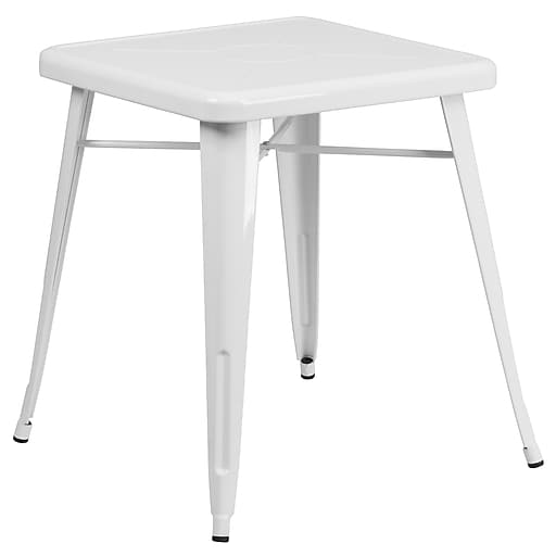 Flash Furniture 24'' Square Metal Indoor/Outdoor Table, White (CH3133029WH)