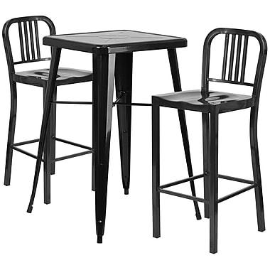 Flash Furniture – Ensemble table bistro et 2 tabourets à dossier, intérieur/extérieur, métal, noir (CH31330B230BK)