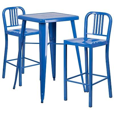 Flash Furniture Metal Indoor/Outdoor Bar Table Set with 2 Vertical-Slat-Back Barstools, Blue (CH31330B230BL)