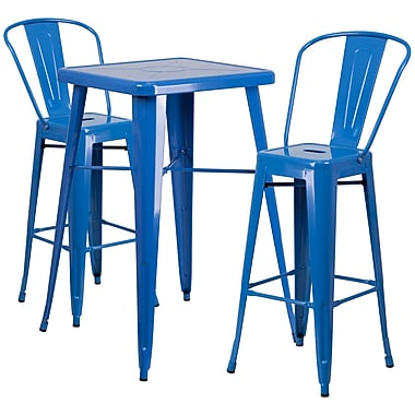Flash Furniture Metal Indoor/Outdoor Bar Table Set with 2 Barstools, Blue (CH31330B230GBBL)