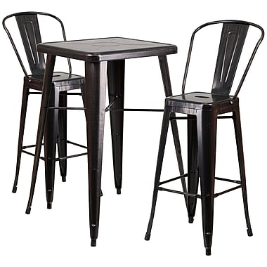 Flash Furniture – Ensemble table bistro et 2 tabourets sans dossier, int/ext, métal noir/or patiné (CH31330B230GBBQ)
