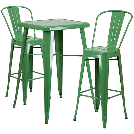 """Flash Furniture 27.75"""" Metal Indoor-Outdoor Bar Table Set with 2 Barstools, Green (CH31330B230GBGN)"""