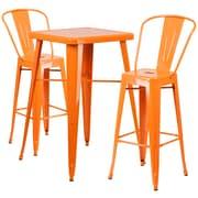 Flash Furniture – Ensemble avec table bistro et 2 tabourets, intérieur/extérieur, métal, orange (CH31330B230GBOR)