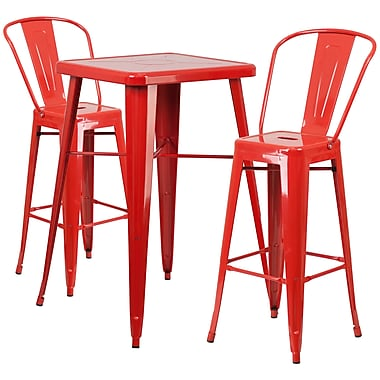 Flash Furniture Metal Indoor/Outdoor Bar Table Set, Red, with 2 Barstools (CH31330B230GBRD)