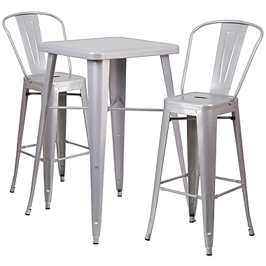 Flash Furniture Metal Indoor/Outdoor Bar Table Set with 2 Barstools, Silver (CH31330B230GBSV)
