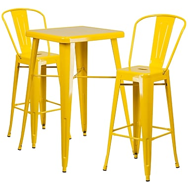 Flash Furniture Metal Indoor/Outdoor Bar Table Set, 2 Barstools, Yellow (CH31330B230GBYL)