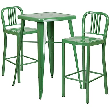 Flash Furniture – Ensemble table bistro de 27,75 po et 2 tabourets à dossier, int/ext, métal, vert (CH31330B230GN)