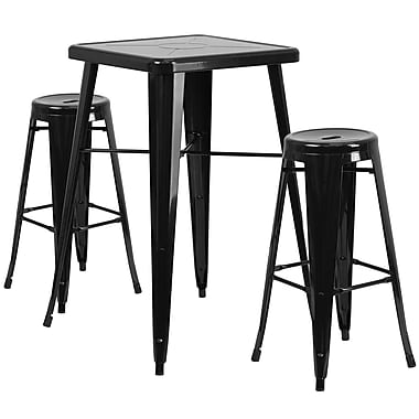 Flash Furniture – Ensemble avec table bistro et 2 tabourets sans dossier, int/ext, métal, noir (CH31330B230RDBK)