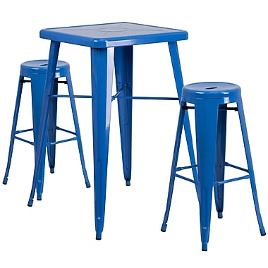 Flash Furniture Metal Indoor/Outdoor Bar Table Set with 2 Backless Barstools, Blue (CH31330B230RDBL)