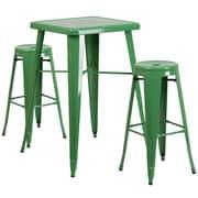 Flash Furniture – Ensemble avec table bistro et 2 tabourets sans dossier, int/ext, métal, vert (CH31330B230RDGN)