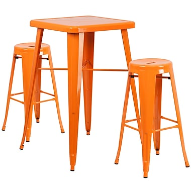 Flash Furniture – Ensemble avec table bistro et 2 tabourets sans dossier, int/ext, métal, orange (CH31330B230RDOR)
