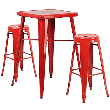 Flash Furniture – Ensemble avec table bistro et 2 tabourets sans dossier, int/ext, métal, rouge (CH31330B230RDRD)