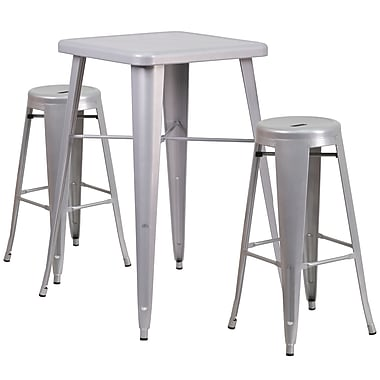 Flash Furniture – Ensemble avec table bistro de 27,75 po et 2 tabourets, int/ext, métal, argenté (CH31330B230RDSV)