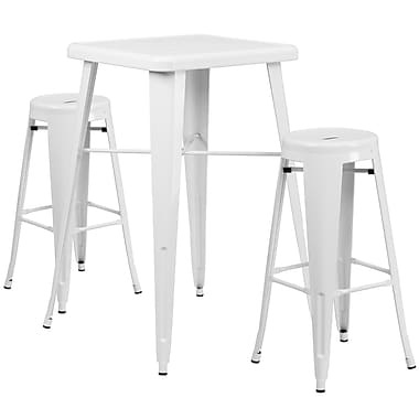 Flash Furniture Metal Indoor/Outdoor Bar Table Set with 2 Backless Barstools, White (CH31330B230RDWH)