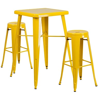 Flash Furniture – Ensemble avec table bistro et 2 tabourets sans dossier, int/ext, métal, jaune (CH31330B230RDYL)