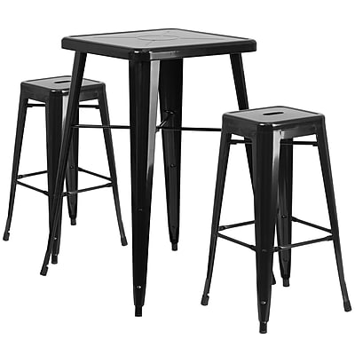 Flash Furniture Metal Indoor/Outdoor Bar Table Set with 2 Backless Barstools, Black (CH31330B230SQBK)