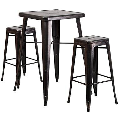 Flash Furniture – Ensemble table bistro et 2 tabourets sans dossier, int/ext, métal noir/or patiné (CH31330B230SQBQ)