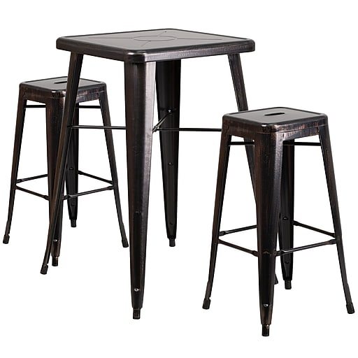 Flash Furniture Metal Indoor/Outdoor Bar Table Set w/2 Backless Barstools, Black/Antique Gold (CH31330B230SQBQ)