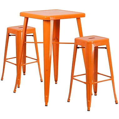 Flash Furniture – Ensemble avec table bistro et 2 tabourets sans dossier, int/ext, métal, orange (CH31330B230SQOR)