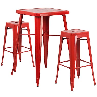 Flash Furniture – Ensemble avec table bistro et 2 tabourets sans dossier, int/ext, métal, rouge (CH31330B230SQRD)