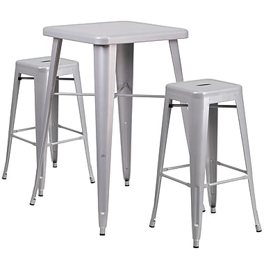 Flash Furniture – Ensemble avec table bistro et 2 tabourets sans dossier, int/ext, métal, argenté (CH31330B230SQSV)