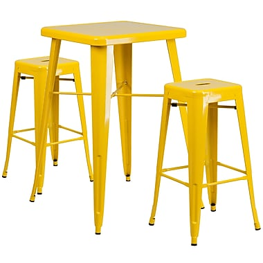 Flash Furniture – Ensemble avec table bistro et 2 tabourets sans dossier, int/ext, métal, jaune (CH31330B230SQYL)