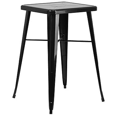 Flash Furniture – Table de bar carrée de 24 po en métal, intérieur/extérieur, noir (CH31330BK)